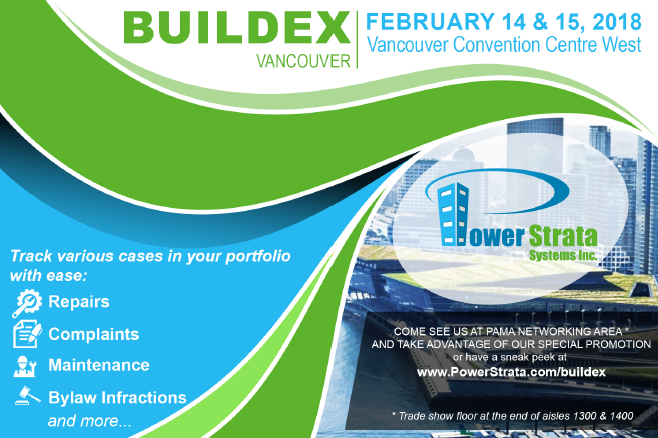 Power Strata Systems at Buildex Vancouver 2018 – Exhibiting at PAMA Networking Area